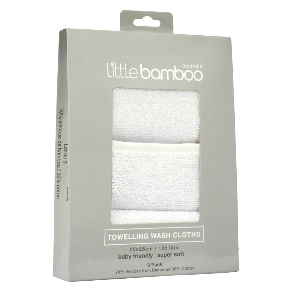 Little Bamboo Towelling Washers 3 Pack White - UrbanBaby shop