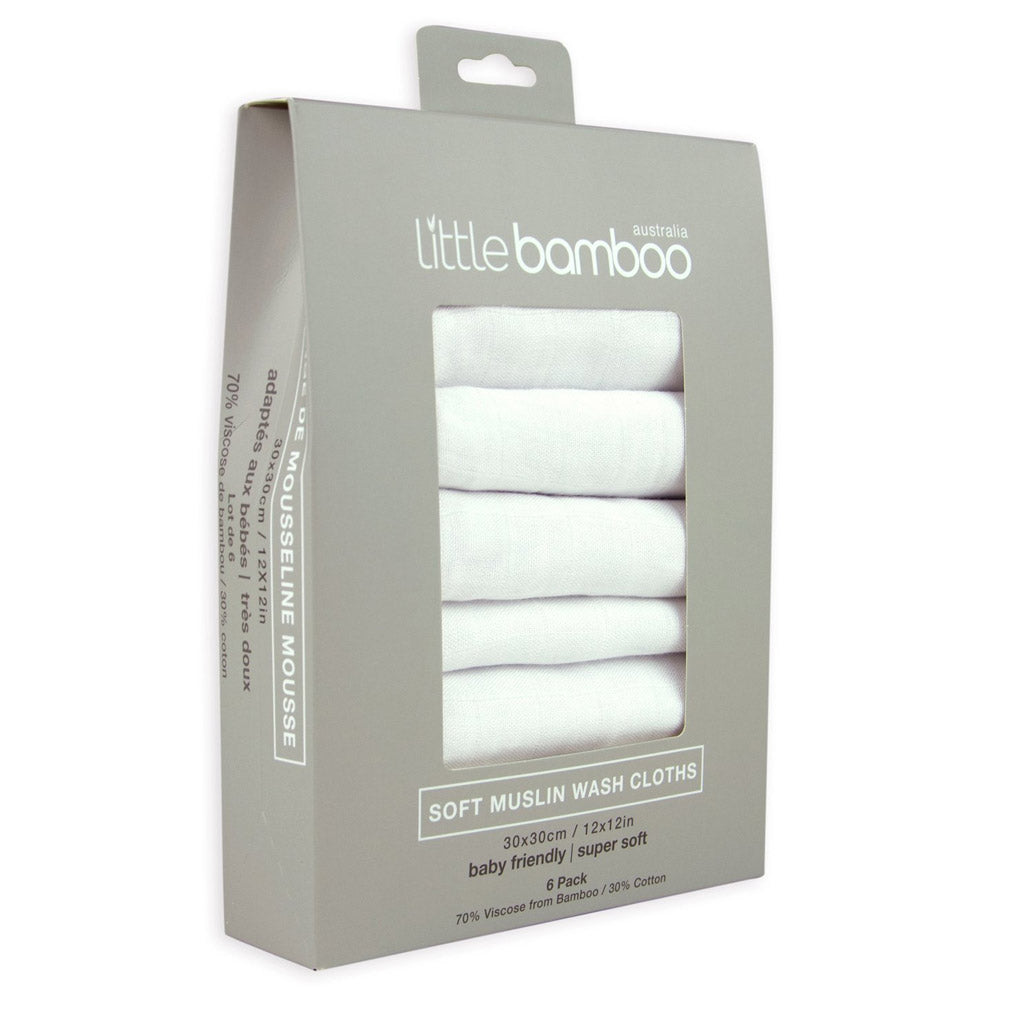 Little Bamboo Muslin Washers 6 Pack White - UrbanBaby shop