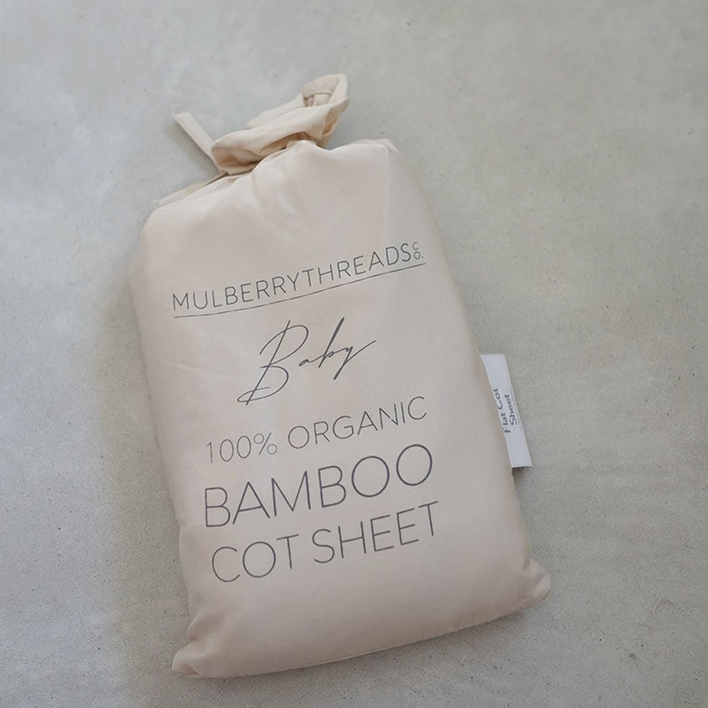 Mulberry Threads Organic Bamboo Cot Fitted Sheet Oat - UrbanBaby shop