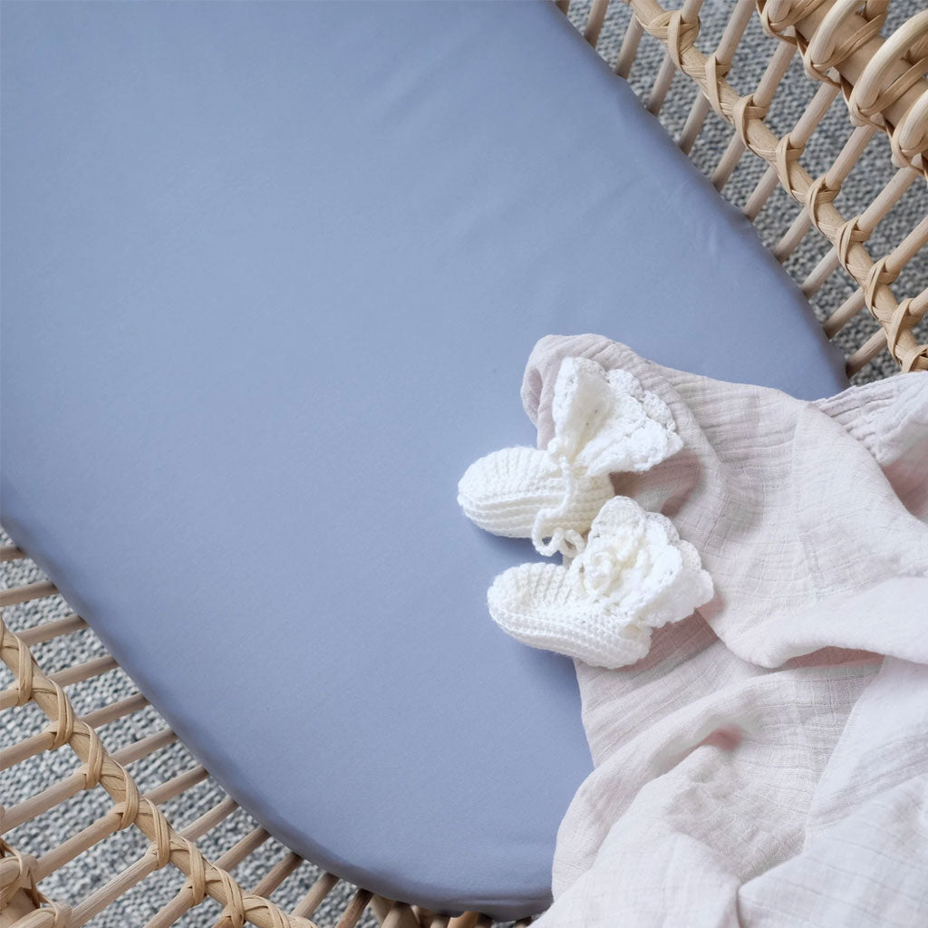 Mulberry Threads Organic Bamboo Bassinet Fitted Sheet Ocean
