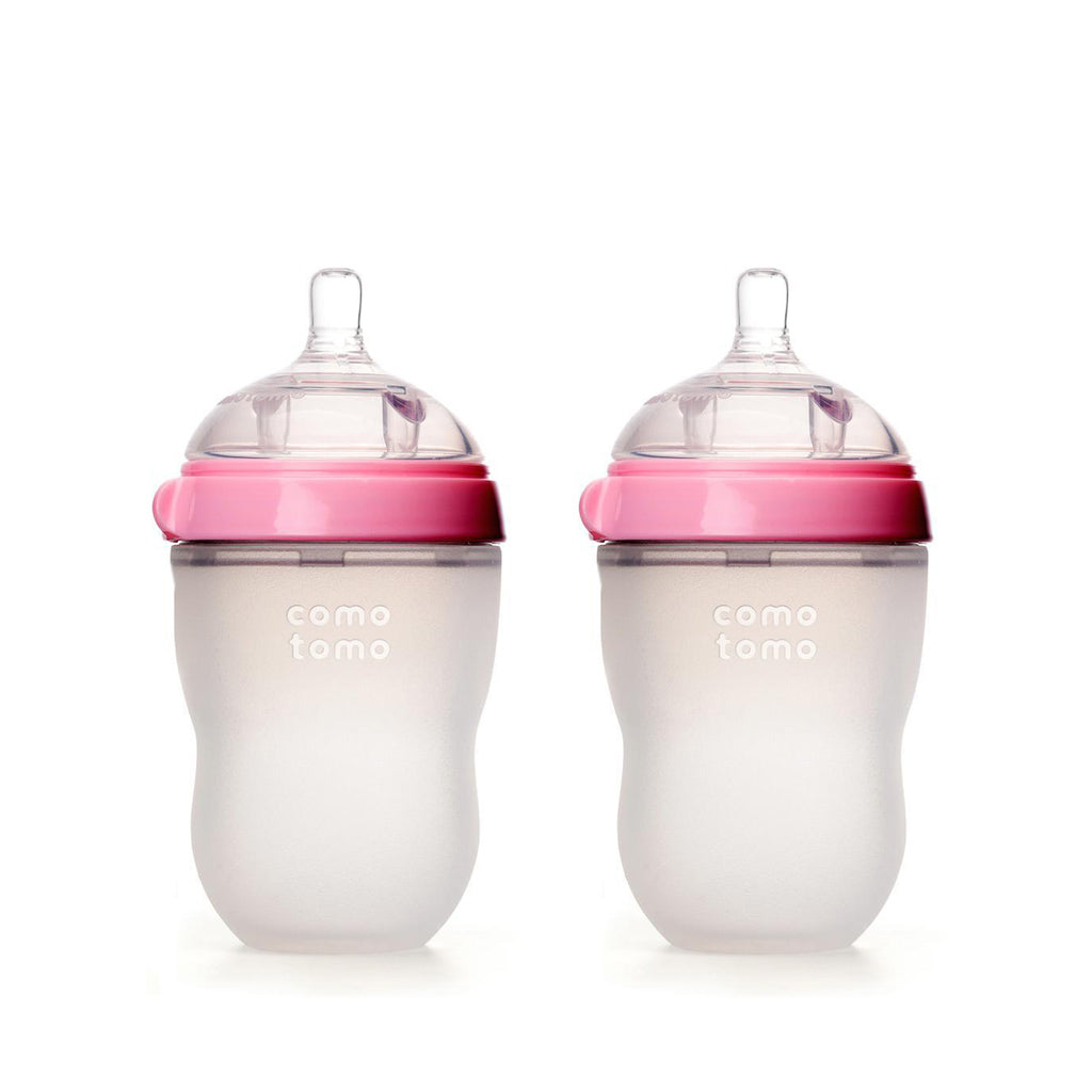 Comotomo Silicone Baby Bottle 250ml 2pk Pink