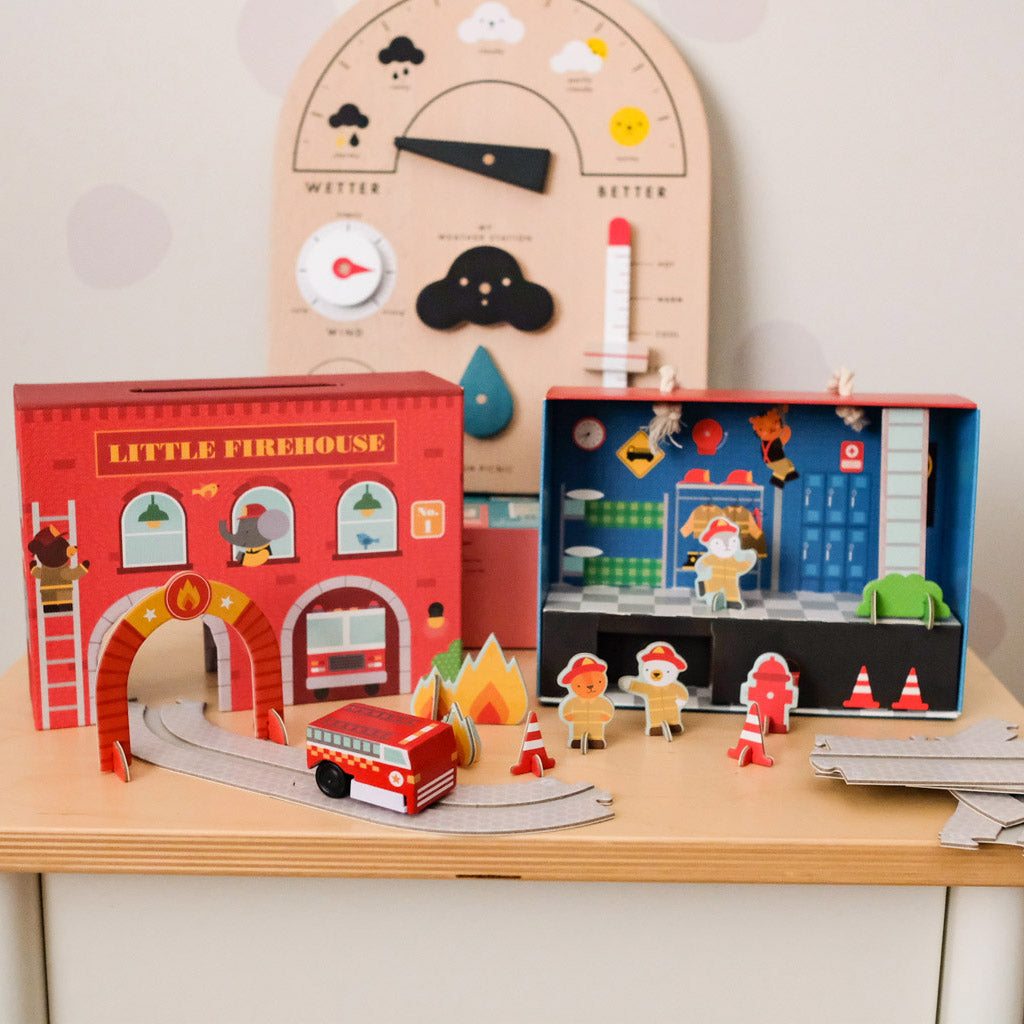 Petit Collage Wind Up and Go Playset - Fire Station