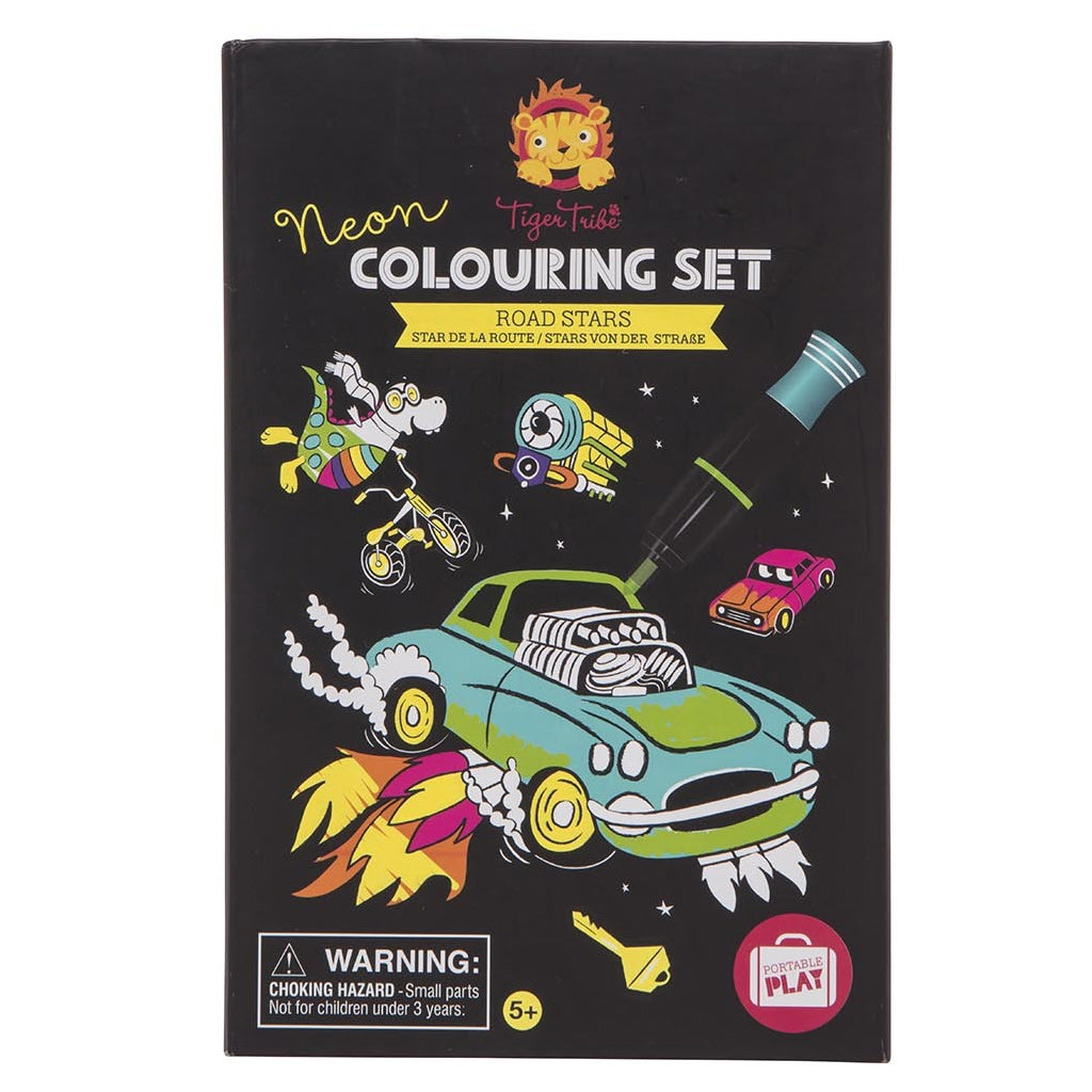 Tiger Tribe Neon Colouring Set - Road Stars - UrbanBaby shop