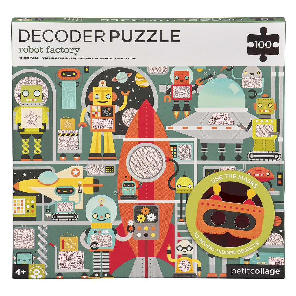 Petit Collage Decoder Puzzle 100pc - Robot Factory - UrbanBaby shop