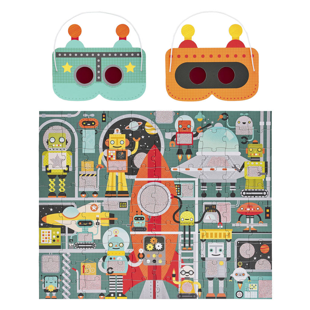 Petit Collage Decoder Puzzle 100pc - Robot Factory