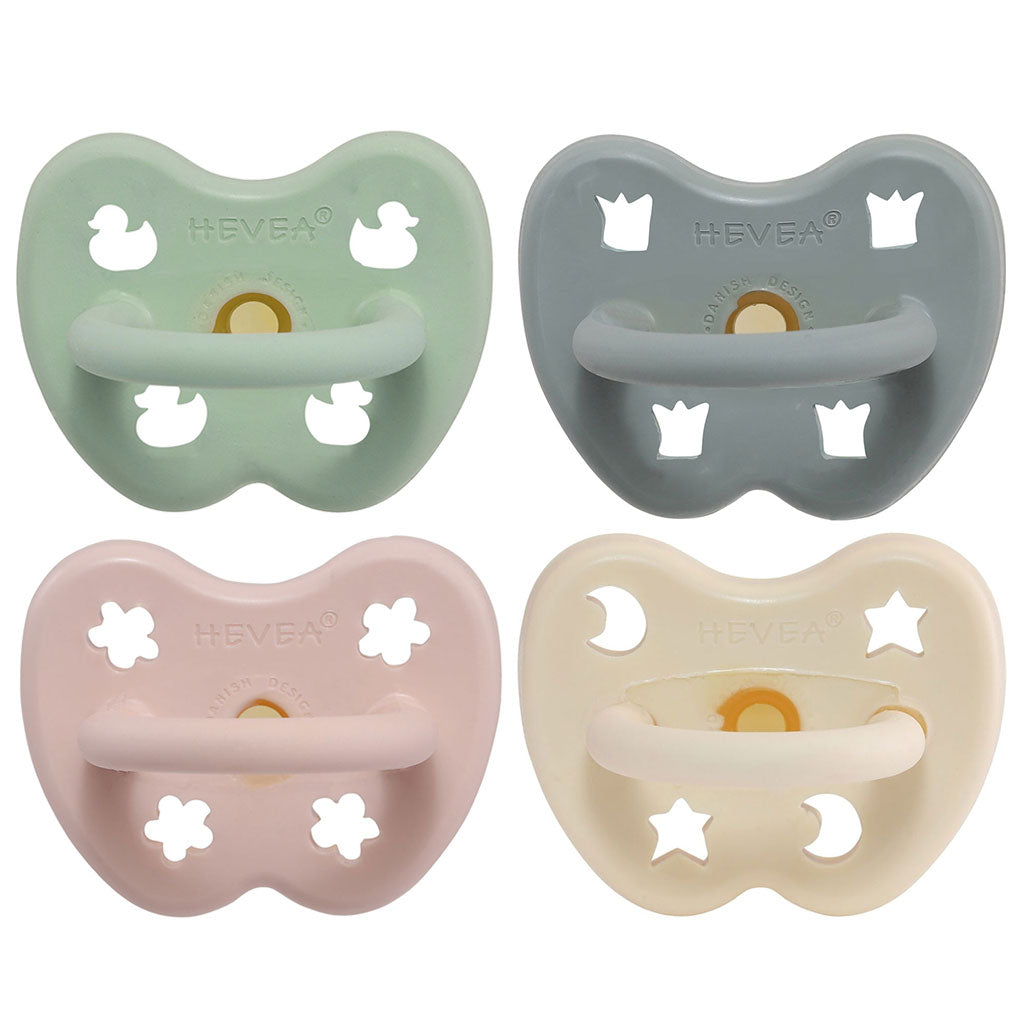 Hevea Baby Natural Rubber Round Pacifier - Var Colour