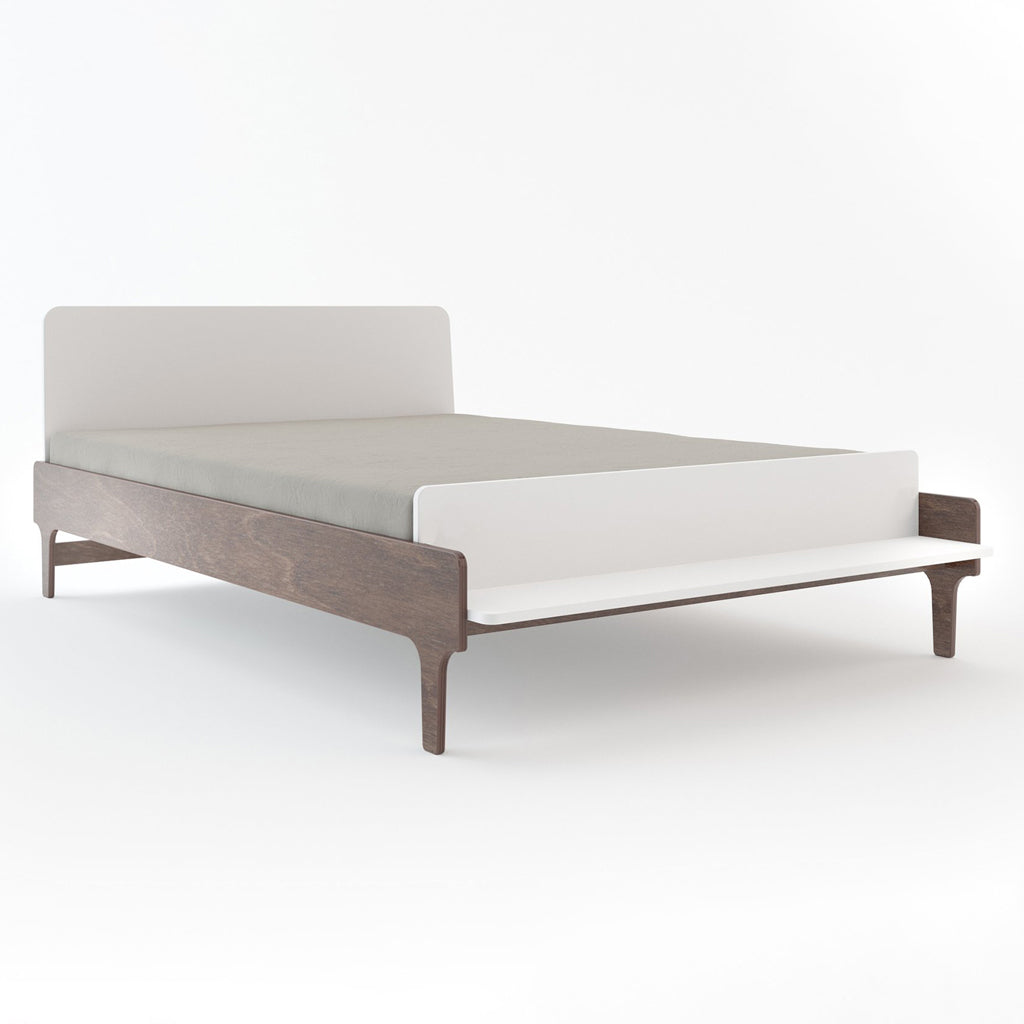 Oeuf River Double Bed - Walnut/White