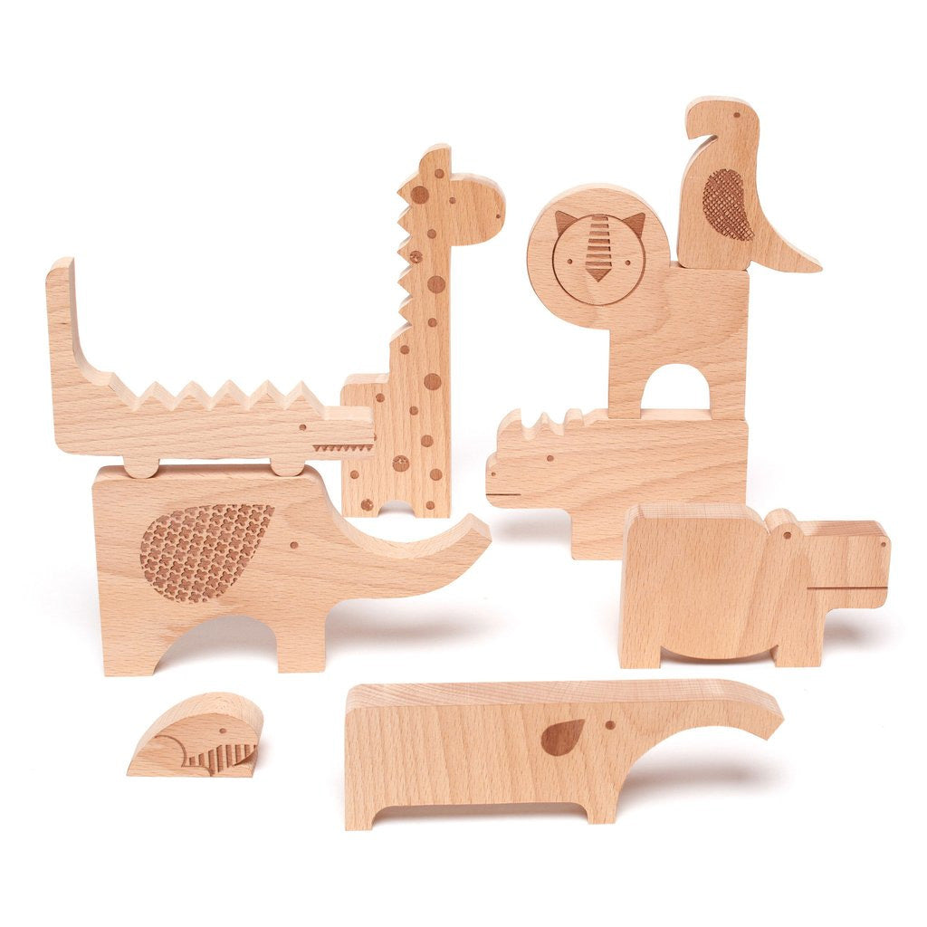 Petit Collage Wood Puzzle + Play - Safari Jumble - UrbanBaby shop