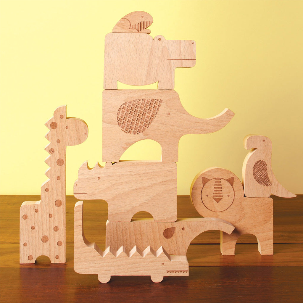 Petit Collage Wood Puzzle + Play - Safari Jumble