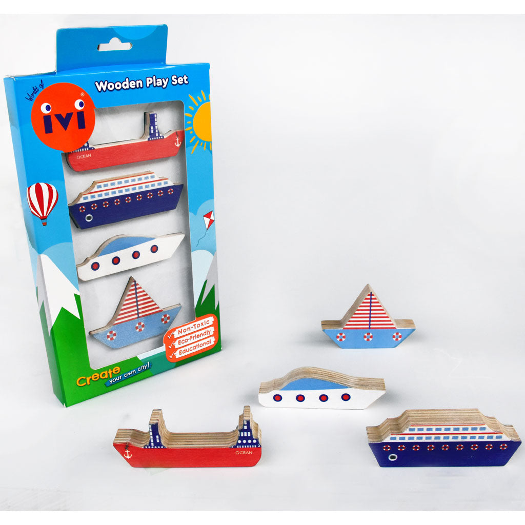 IVI Wooden Play Set - Ships - UrbanBaby shop