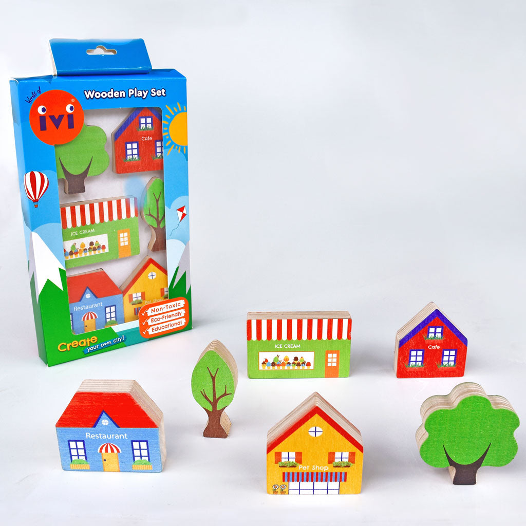 IVI Wooden Play Set - At the Shops - UrbanBaby shop