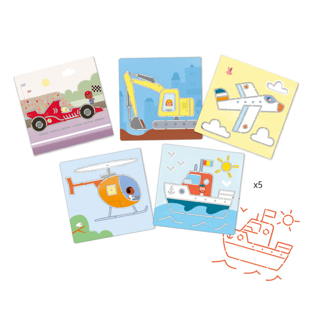 Djeco Stencils - Transports & Co - UrbanBaby shop