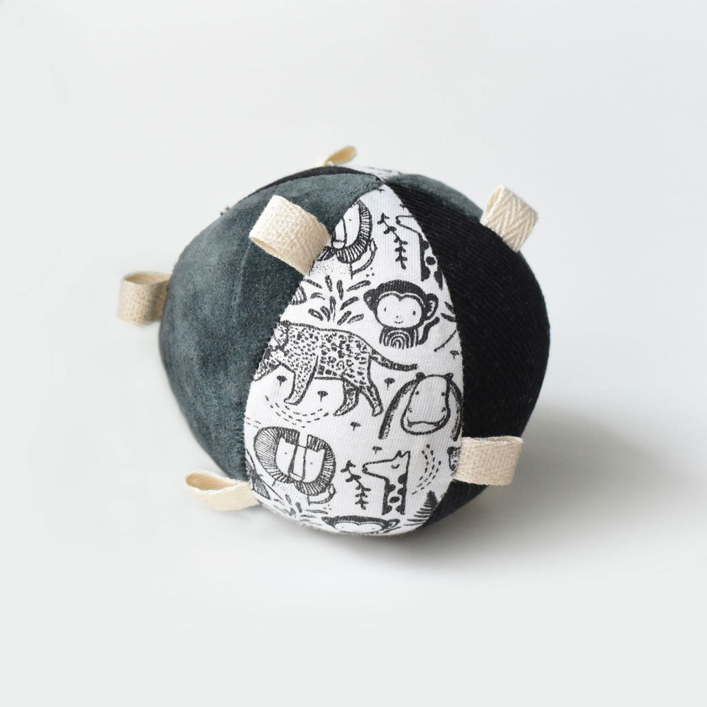 Wee Gallery Organic Sensory Taggy Ball with Rattle - Wild - UrbanBaby shop