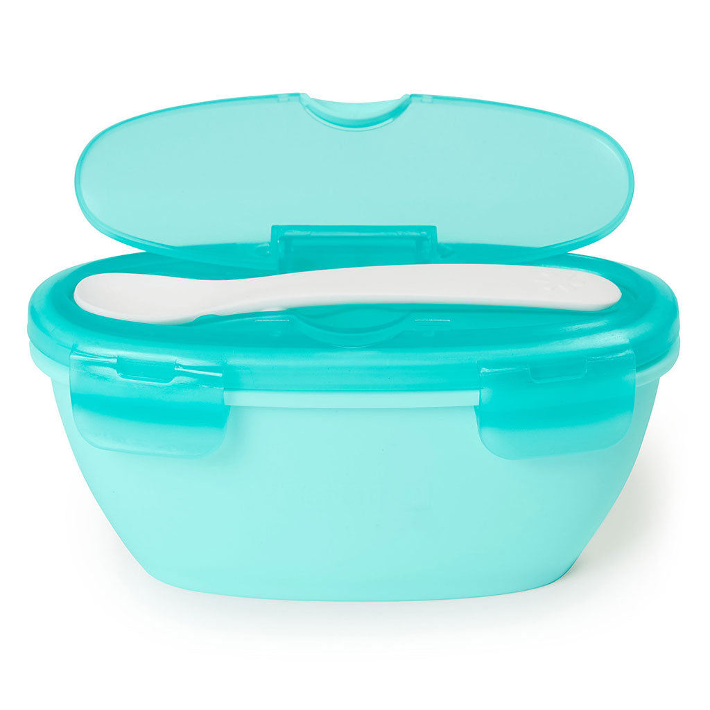 Skip Hop Easy-Serve Travel Bowl and Spoon - Grey/Soft Teal - UrbanBaby shop