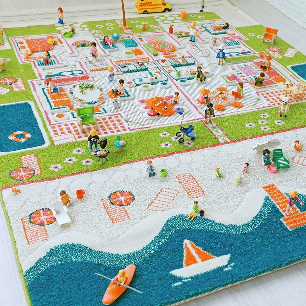 IVI Interactive Play Rug Twin Houses Turquoise Large - UrbanBaby shop