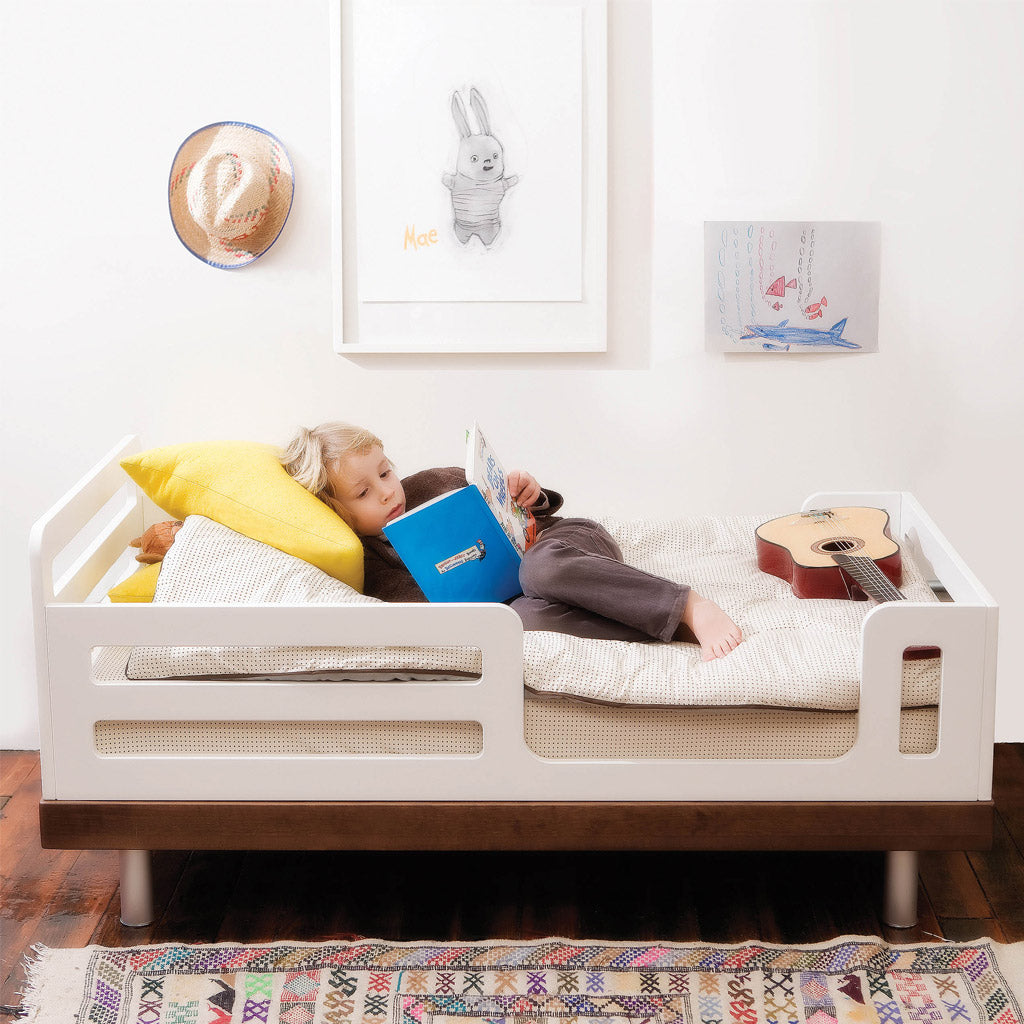 Oeuf Classic Toddler Bed - White w Birch - UrbanBaby shop