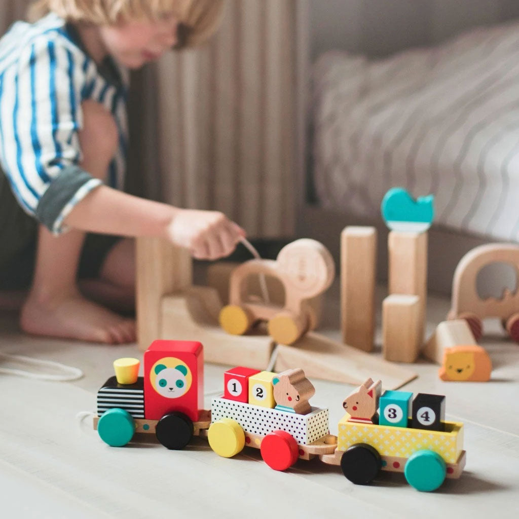 Petit Collage Pull Along Wooden Train - Animal Friends - UrbanBaby shop