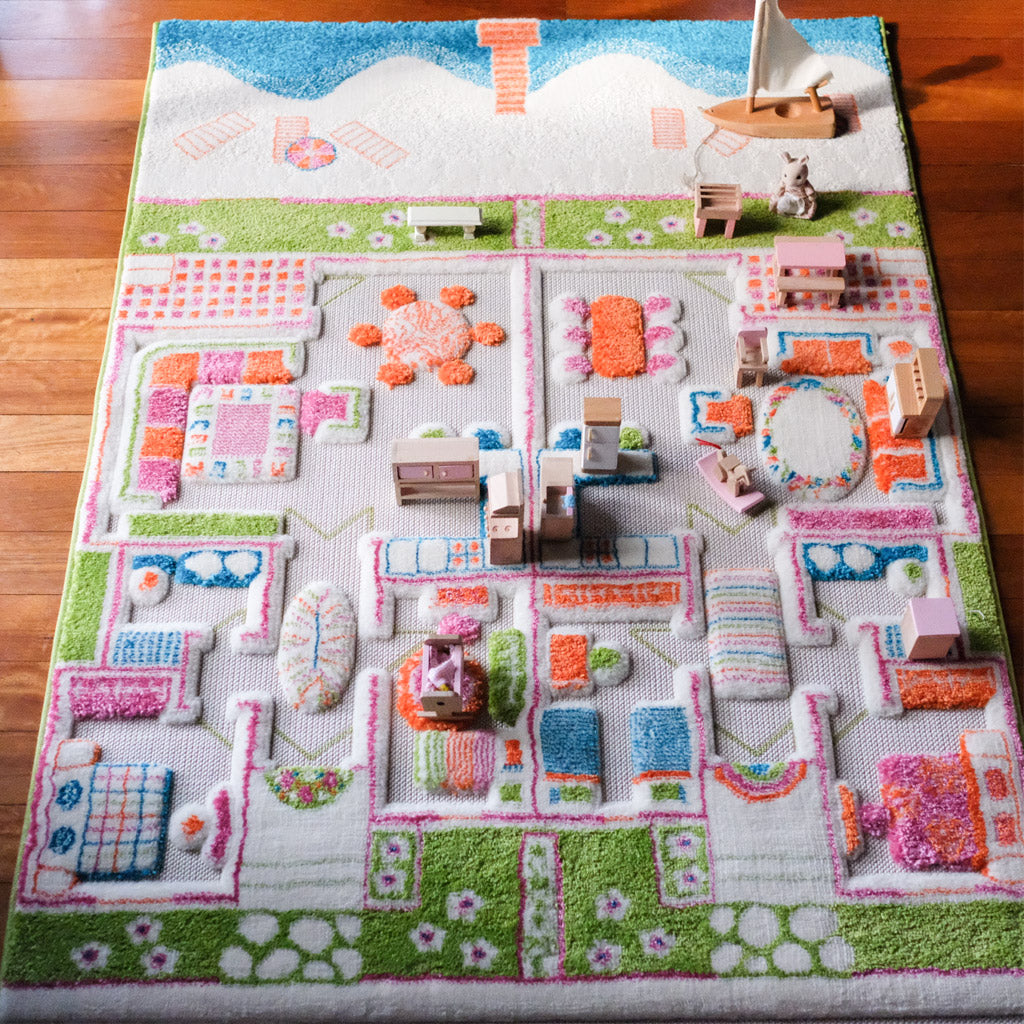 IVI Interactive Play Rug Twin Houses Turquoise Medium