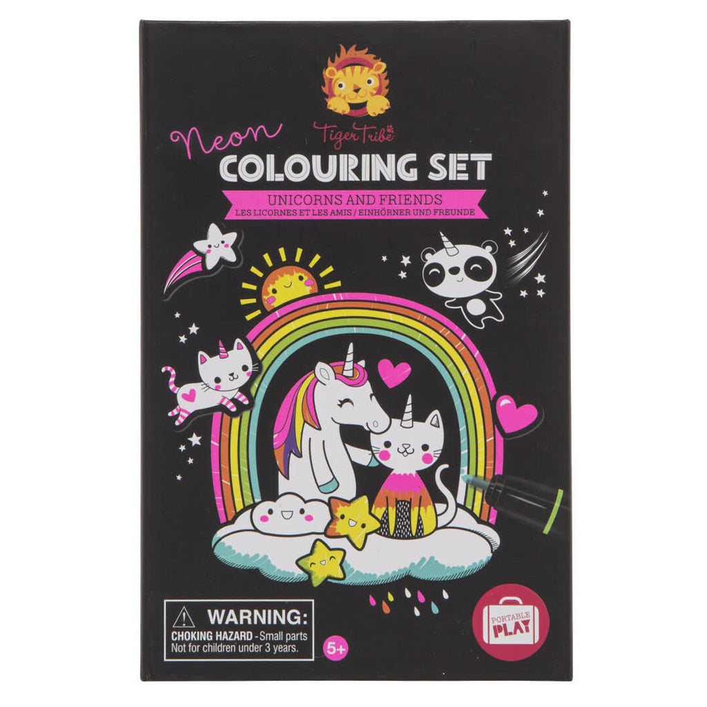 Tiger Tribe Neon Colouring Set - Unicorns and Friends - UrbanBaby shop