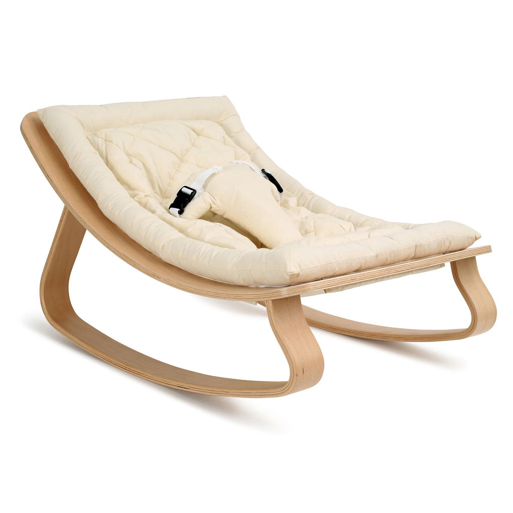 Charlie Crane Levo Baby Rocker in Beech with Organic White cushion - UrbanBaby shop