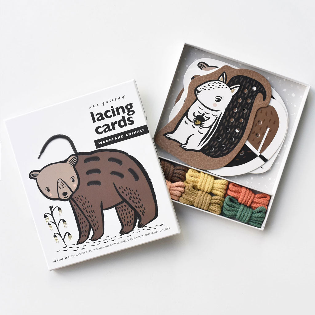 Wee Gallery Lacing Cards - Woodland Animals - UrbanBaby shop