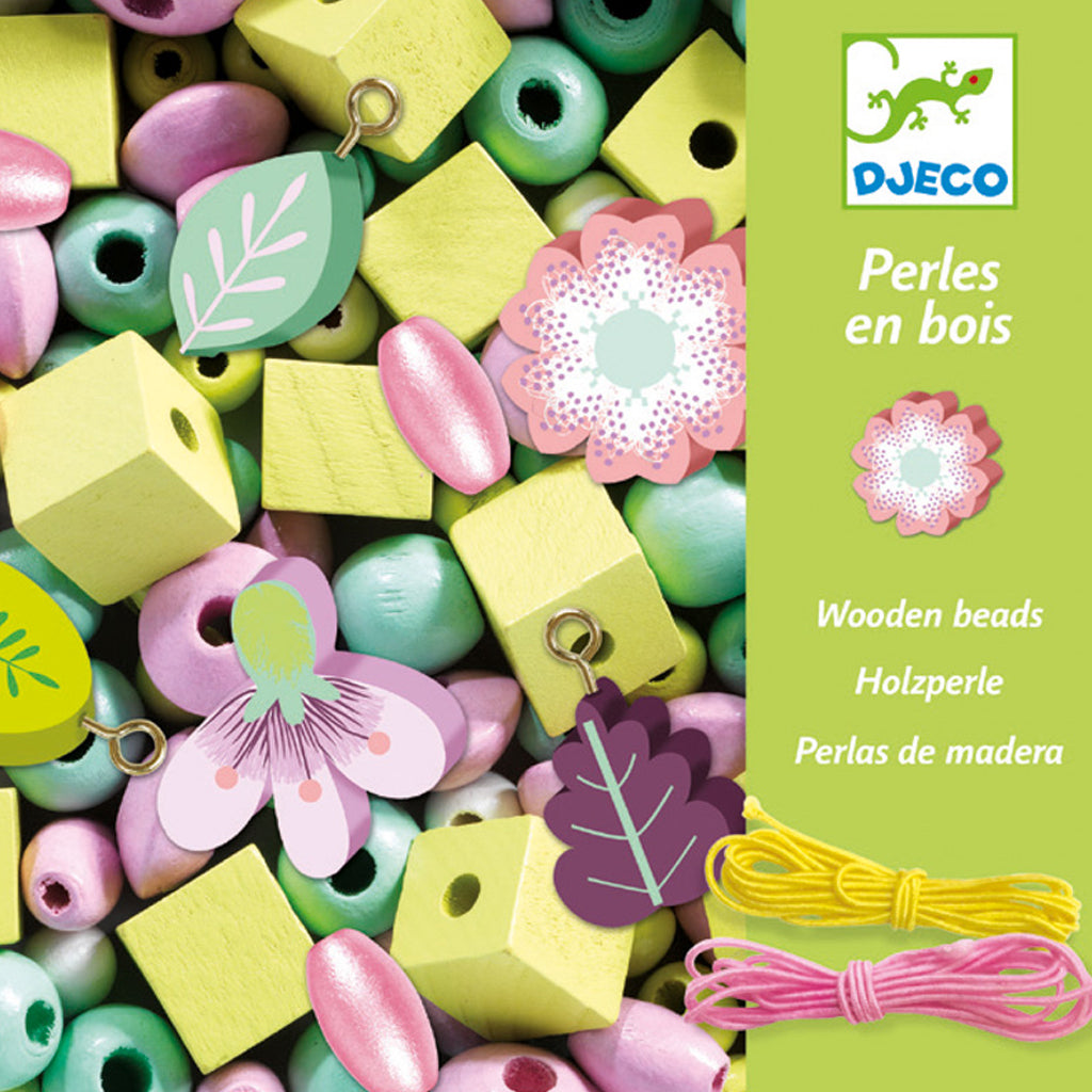 Djeco Wooden Beads - Leaves and Flowers- UrbanBaby shop