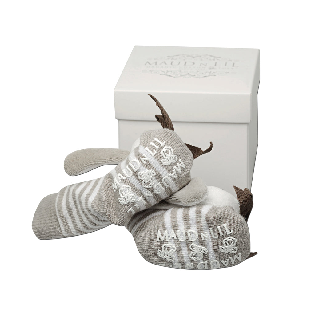 Maud n Lil Organic Cotton Socks Grey Bunny - UrbanBaby shop