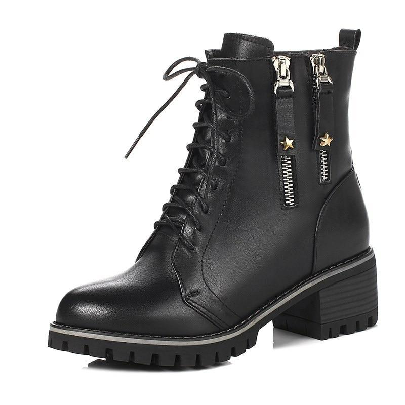 ee208866a Womens Fashion Luxury Leather Warm Wool lace up Ankle boots