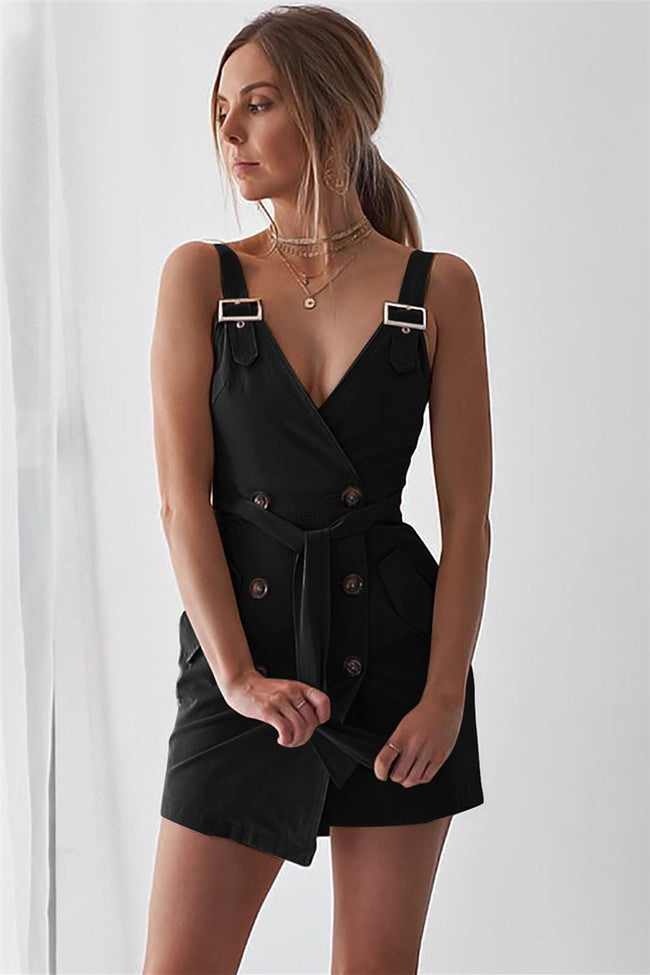 Voyagal Spaghetti Strap Decorative Buttons Solid Sleeveless Romper