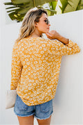 Voyagal Dots Long Sleeve V Neck Blouse&shirts