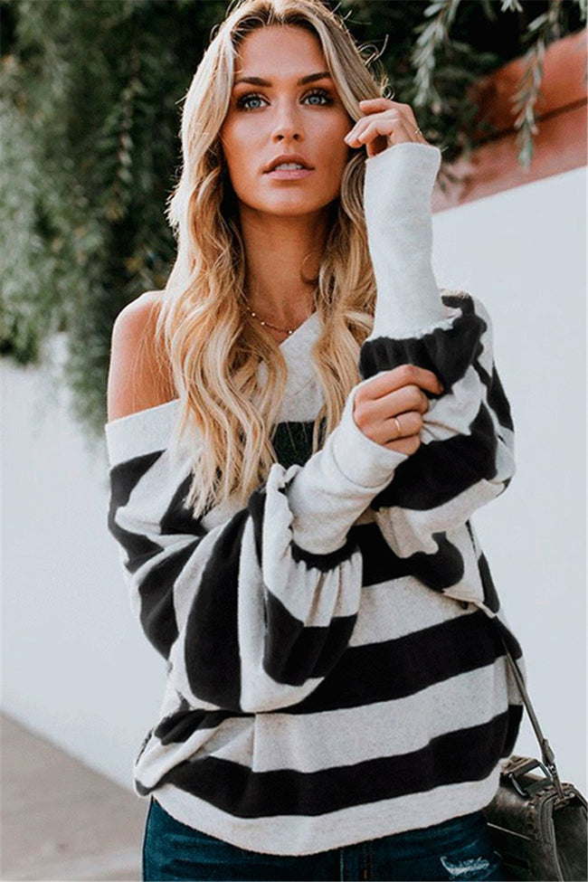Voyagal V Neck Striped Lantern Sleeve T-Shirts