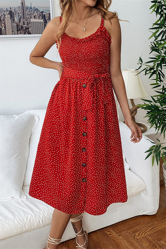 Voyagal Dots Print Front Buttons Dress