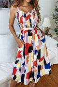 Voyagal Chic Geometric Printed White Mid Calf Dress