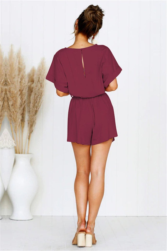 Voyagal Short Sleeve Keyhole Back Solid Romper with Belt