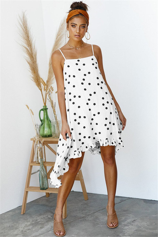 Voyagal Chic Dots Printed Chiffon Knee Length Dress