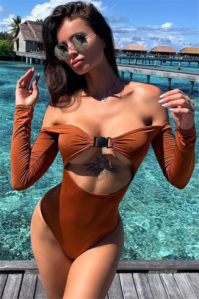 Voyagal Off The Shoulder Long Sleeve Hollow Out One Piece Swimwear