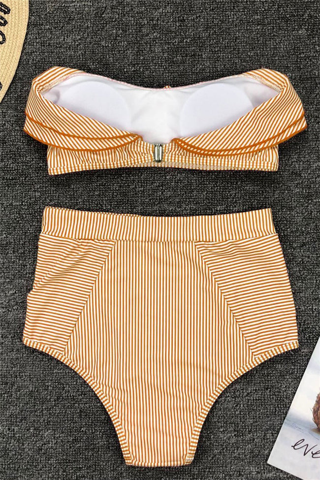 Voyagal High-Waist Striped Ruffle Bikini Set