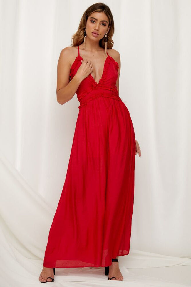 Voyagal Cotton Sexy Red Boho Jumpsuits