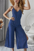 Voyagal V Neck Polka Dot Slit Off-Shoulder Jumpsuits