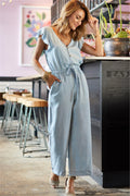Voyagal V Neck Ruffle Sleeve Jumpsuits