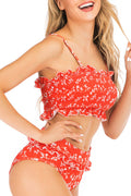 Voyagal Smocked Bandeau High Waist Bikini Set