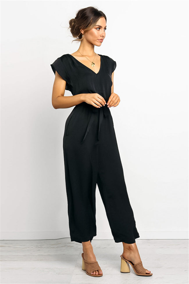 Voyagal Versatile Lace-Up V-Neck Short-Sleeve Jumpsuits