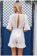 Voyagal Fashion V Neck Hollow Out Frenulum Rompers
