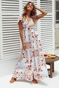 Voyagal White Floral Bohemian Maxi Dress