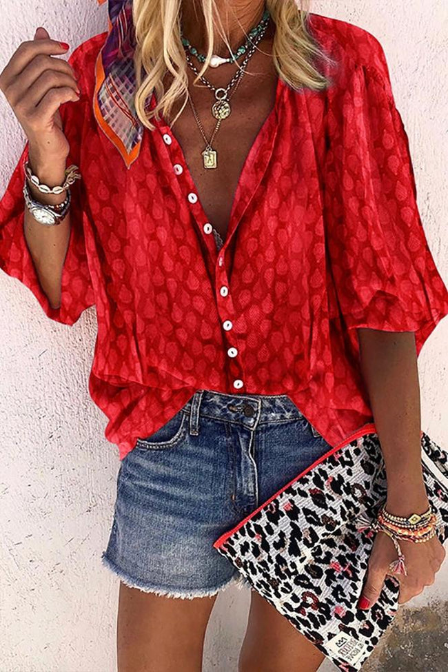 Voyagal Printed Buttons Loose Blouse