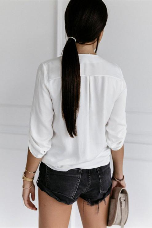 Voyagal V Neck Hollow-out White Shirt