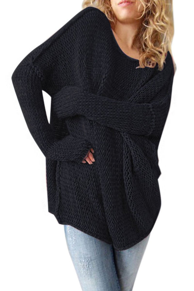 Voyagal Ladies O Neck Long Sleeve Knitted Solid Sweater