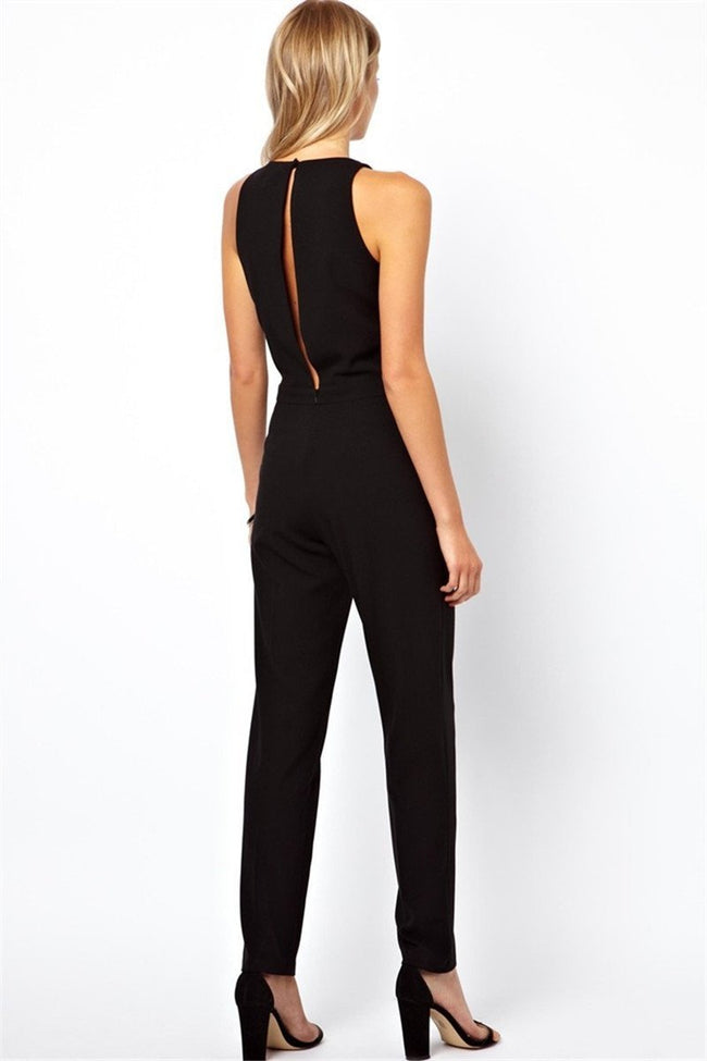Voyagal Sleeveless Casual Black Jumpsuits With Pockets