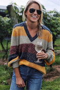 Voyagal V Neck Patchwork Sweater
