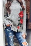 Voyagal Retro Embroidered Grey Sweater